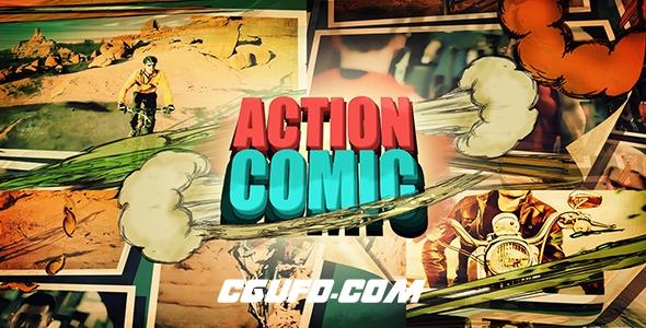 6505卡通MG动画连环画图片视频包装特效动画AE模版,Action Comic