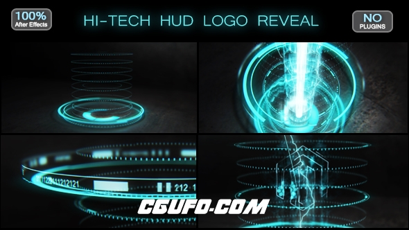 6507HUD高科技光线logo演绎动画AE模版,Hi-tech HUD Logo Reveal