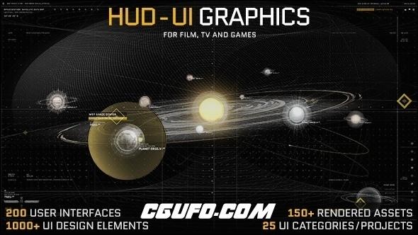 6513-1000+高科技HUD游戏电影特效医学武器地理星球UI动画AE模版,HUD – UI Graphics for FILM, TV and GAMES