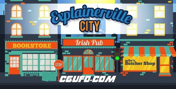 6516卡通城市宣传动画AE模版,Explainerville City