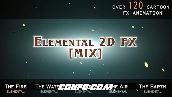 6535-120组风火水雷电手绘卡通漫画游戏MG动画元素AE模版,Elemental 2D FX [MIX]
