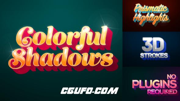 6536时尚卡通立体文字投影动画AE模版,Colorful Shadows – Motion Titles Pack
