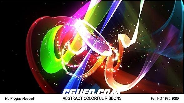 6543唯美粒子光线特效动画AE模版,Abstract Colorful Ribbons Logo
