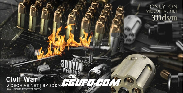 6544战争武器大气E3D模版动画AE模版,Civil War – Element 3D