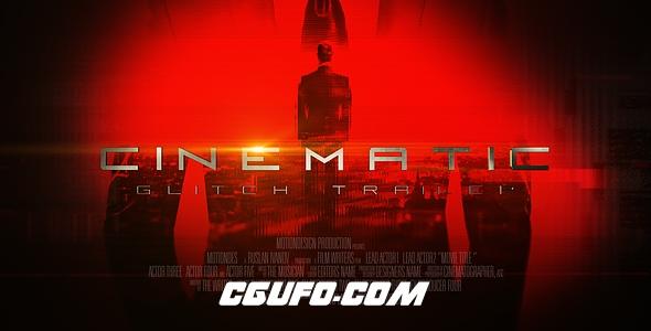6545史诗级电影预告片文字特效动画AE模版,Cinematic Glitch Trailer