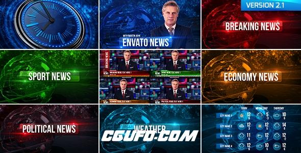 6665新闻电视栏目包装动画AE模版,Broadcast Design News Package