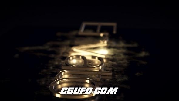 6567大气金色logo演绎动画AE模版,Gold Logo