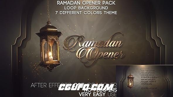 6568大气金色粒子开场动画AE模版,Ramadan Opener Pack