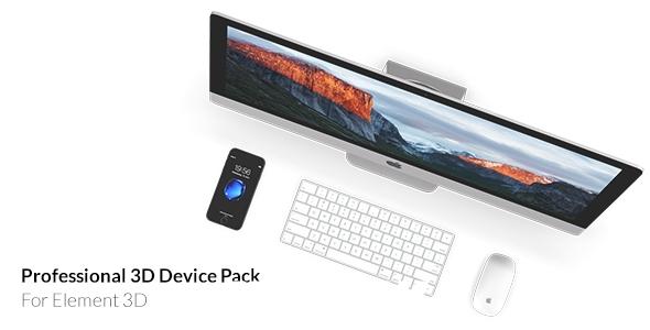 6583手机电脑其他设备E3D模型素材库动画AE模版,Professional 3D Device Pack for Element 3D