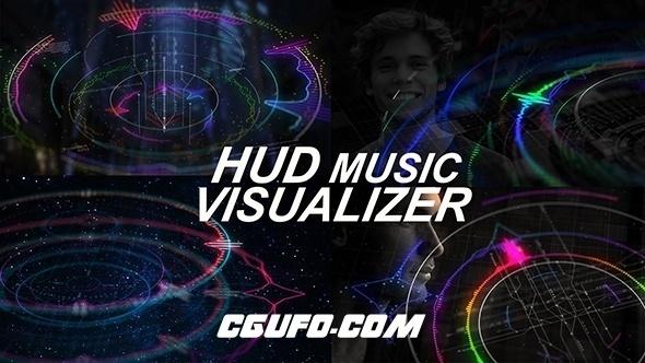 6607HUD音乐类音波特效包装动画AE模版,HUD Music Visualizer