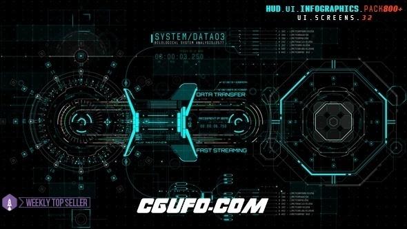 6610HUD高科技UI信息图表素材包动画AE模版,HUD UI Infographics Pack 800+