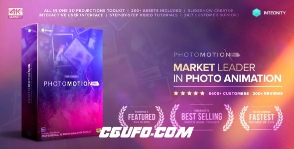 6628-3D图片展示动画生成器AE模版,Photo Motion Pro – Professional 3D Photo Animator