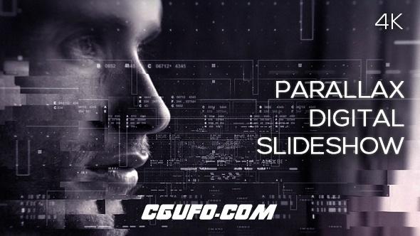 6629科技感图形视差图片展示片头AE模版,Parallax Digital Slideshow