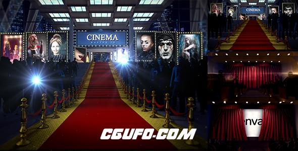 6633-3D电影院剧场动画AE模版,Red Carpet-3