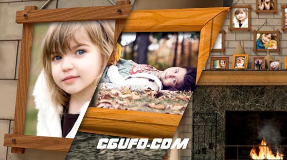 6652温暖的家庭相册动画AE模版,Fireplace Warm Photo Memories