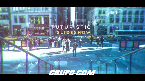 6657未来科技图片展示动画AE模版,Futuristic Slideshow