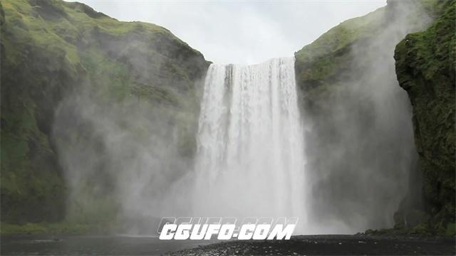 2610-雄伟高山瀑布飞流直下跑步高清实拍视频素材
