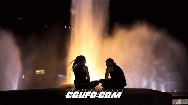 2712-唯美浪漫夜景情侣喷泉前开心聊天交谈场景高清实拍视频素材
