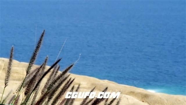 2713-唯美蓝海滩小草烘托场景变焦俯视拍摄沙滩风格高清实拍视频素材