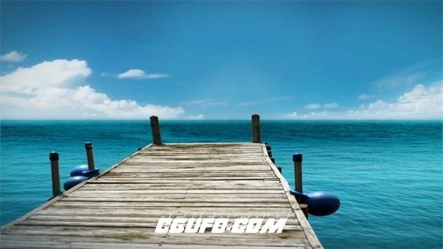 2714-唯美湖岸蓝天白云码头木桥房地产形象宣传高清实拍视频素材