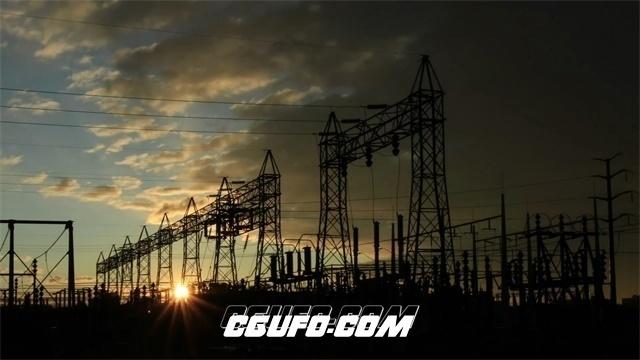 2719-天空变幻供电局电网科技电压基站电力传输高清实拍视频素材