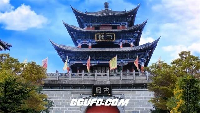 2728-古代历史建筑风格古城楼阁建筑特色天空变幻高清实拍视频素材
