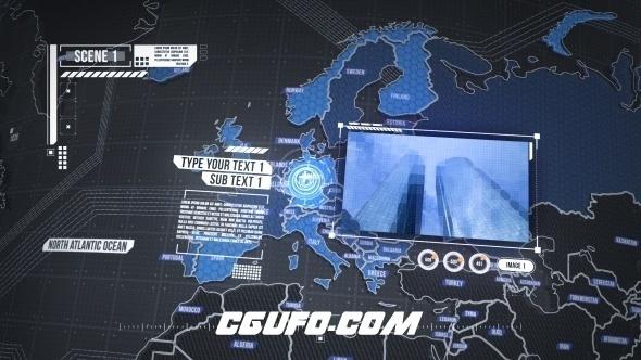 6683世界地图3D模型动画AE模版,World Map Element 3D