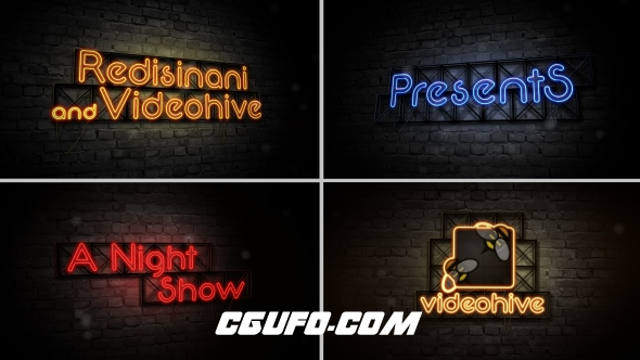 6685霓虹灯开场标题动画AE模版,Opening Titles-Late Night Show
