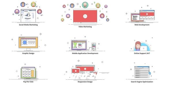6713创意卡通MG动画AE模版,Outline – Explainer Kit