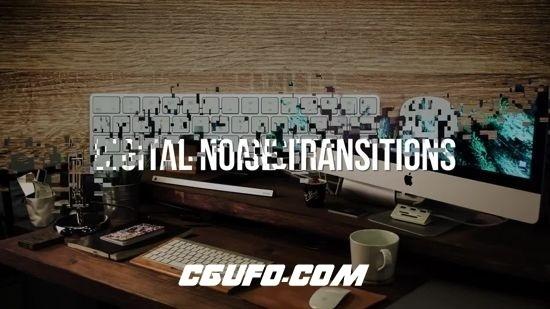 6718创意转场过渡特效动画AE模版,Graphics – Digital Noise Transitions