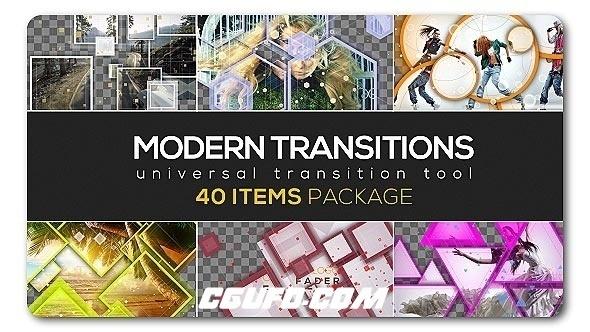 6737-40组现代图片视频转场过渡特效动画AE模版,Modern Transition Pack | 40 items