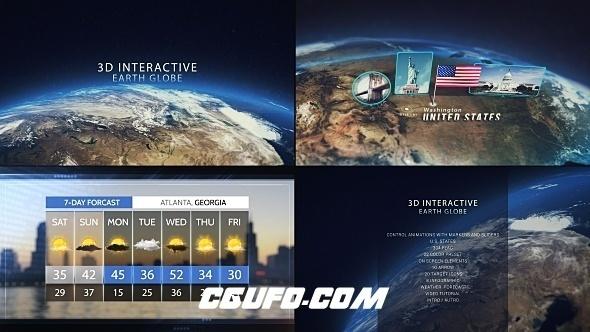 6785大气震撼交互式3D地球特效包装动画AE模版,3D Interactive Earth Globe