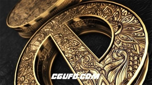 6795大气金色logo演绎动画E3D模版AE模版,Black Gold Logo V4