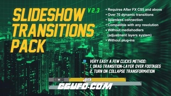 6798图片视频转场特效动画AE模版,Slideshow Transitions Pack