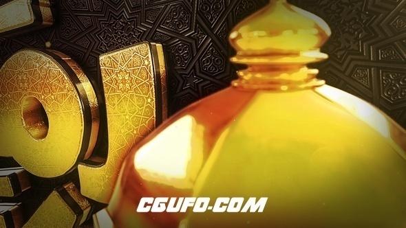 6823开斋月E3D模版橙黄开场动画AE模版,Ramadan Goldish Opener