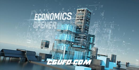 6850虚拟高科技高楼特效动画AE模版,Economics Opener