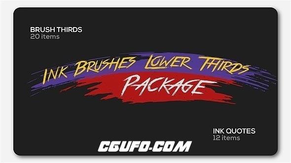 6891水彩笔刷文字标题动画AE模版,Ink Brushes Lower Thirds Package