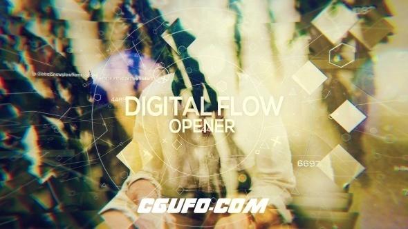 6900数字科技感图片视频包装动画AE模版,Digital Flow – Opener