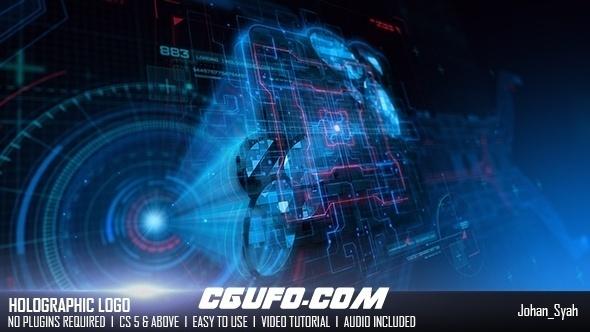 6907HUD高科技logo演绎动画AE模版,Holographic Logo