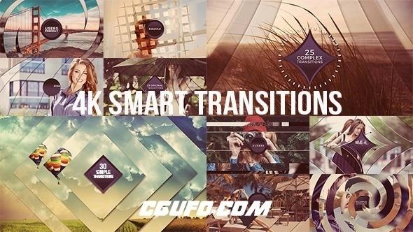 6909-4K图片视频过渡转场动画AE模版,4K Smart Transitions