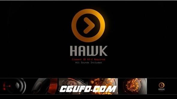 6914科技感logo演绎动画AE模版,Hawk Logo