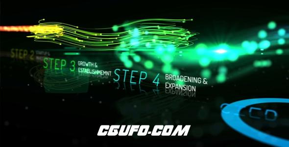 6928创意多彩粒子企业发展时间线动画AE模版,Rainbow Corporate Timeline Evolution
