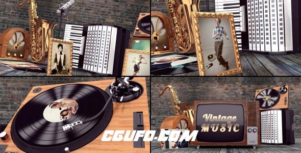 6935音乐乐器演奏视频包装动画AE模版,Vintage Music Opener