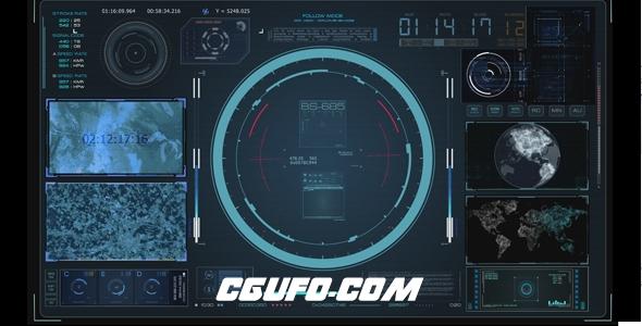 6949HUD高科技信息导航界面动画高清视频素材,HUD Virtual Radar Hologram Interface System Cockpit