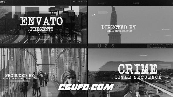 6951创意标题文字包装动画AE模版,Crime Title Sequence