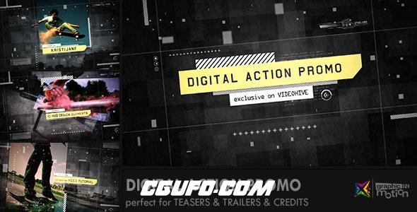 6953数字数码开场动态图片视频展示动画AE模版,Digital Action Promo