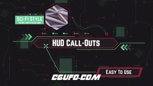 6973HUD高科技界面文字标题动画AE模版,HUD Call-Out