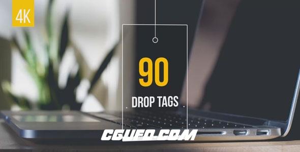 6975-90组创意吊牌动画AE模版,90 Drop Tags