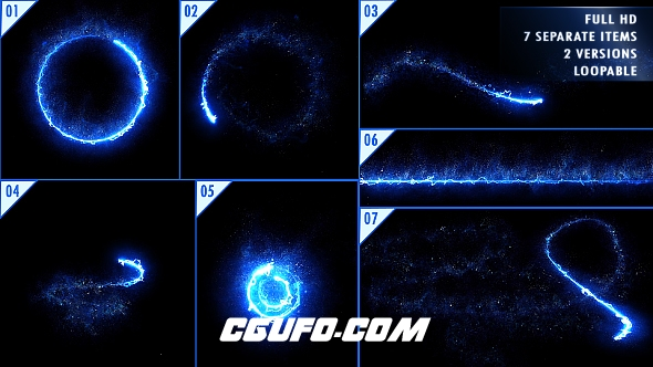 6982能量光线粒子特效高清视频素材带通道,Energy Light Streaks With Particles