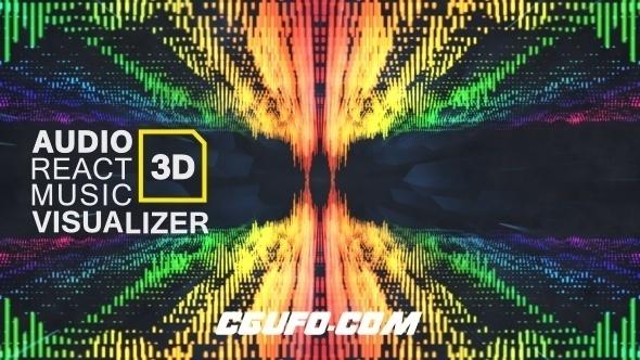 6983音波声波特效动画AE模版,Audio React Music Visualizer 3D
